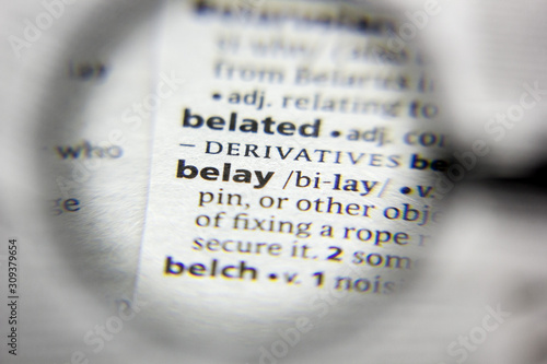 The word or phrase belay in a dictionary. Wallpaper Mural