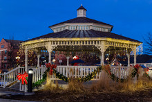 Gazebo Decorated For The Holidays In Parker, Colorado