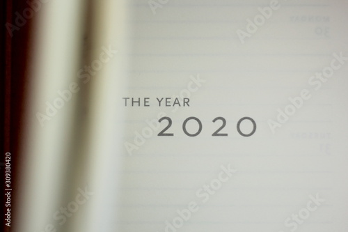 Fotografie, Tablou Closeup of an open planner for the year 2020.