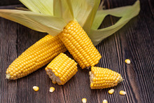Yellow Corn Healthy Food. Macro