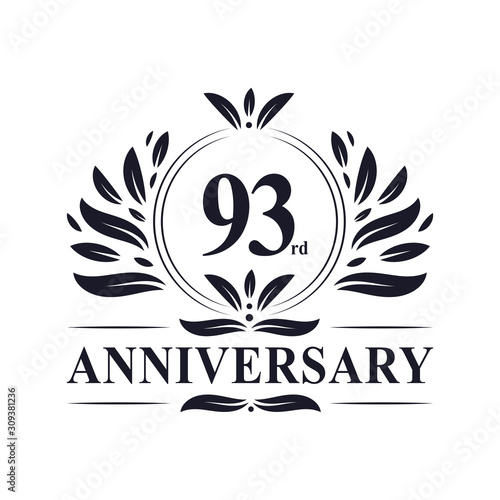 Fotografie, Obraz 93rd Anniversary celebration, luxurious 93 years Anniversary logo design