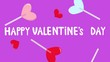 Bright, adorable animation of falling lollipops, hearts, appearing text.Valentine's Day greeting template. Colorful background.