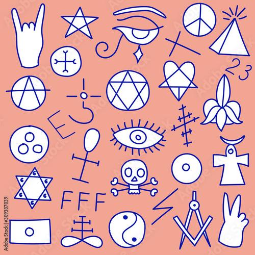 Fotomural Set of sinister symbols of satanic occultism