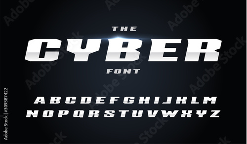 Photo Cyber style letters set