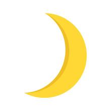 Yellow Moon In Cartoon Style F...