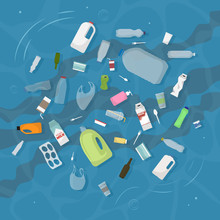 Household Trash Floats In Dirty Water. View .Top Ector Illustration.