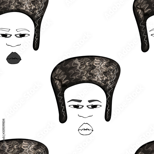 Valokuvatapetti Seamless colorful vector pattern with drawing of afro american smiling woman with afro hair style