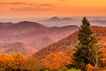 Panel Szklany Góry Brasstown Bald, Georgia, USA view of Blue Ridge Mountains in autumn