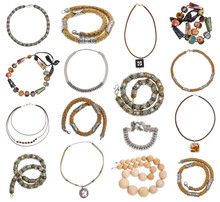 Set Of Various Pendants And Necklaces Isolated