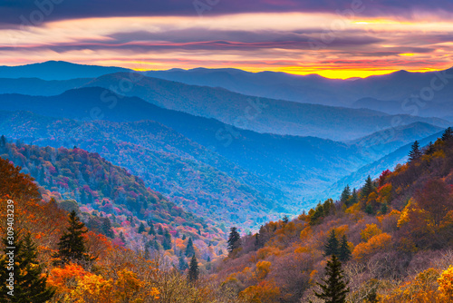 Cuadros en Lienzo Smoky Mountains National Park, Tennessee, USA autumn landscape