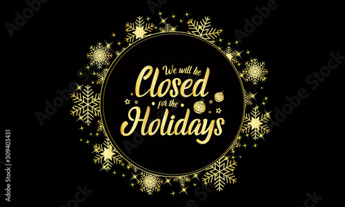 Obraz Christmas, new year, closed for the holidays card or background. vector illustration. - fototapety do salonu