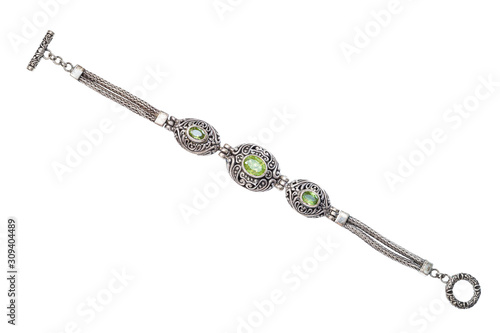 silver bracelet with natural peridot gemstones Wallpaper Mural