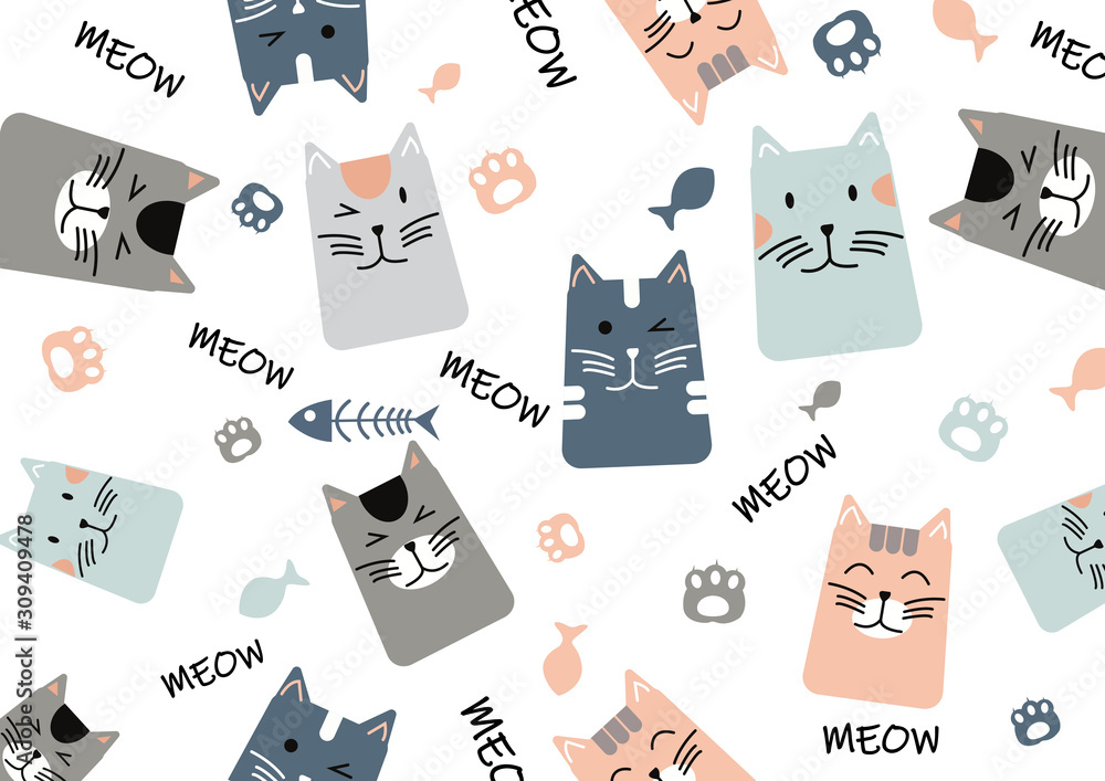 Fototapeta Cat pattern. Seamless texture of different cute kittens on whit background