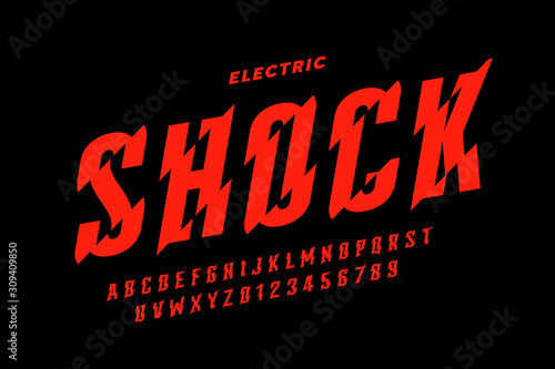 Cuadros en Lienzo Eclectric shock style font design, alphabet letters and numbers