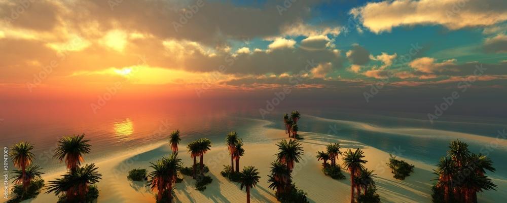 Fototapeta Beautiful sunset over a tropical beach, sea sunset among the clouds, 3D rendering.