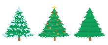 Cartoon Christmas Tree In Thre...
