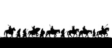 Silhouette Of Group Of Medieval Warriors On The Expedition, Vector Black Illustration On White Background