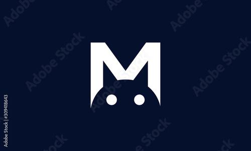 Minimalist line art M cat logo Canvas Print
