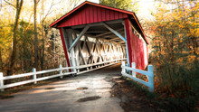 A Red Covered Bridge In Cuyaho...