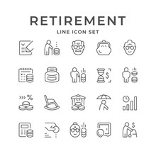 Set Line Icons Of Retirement O...
