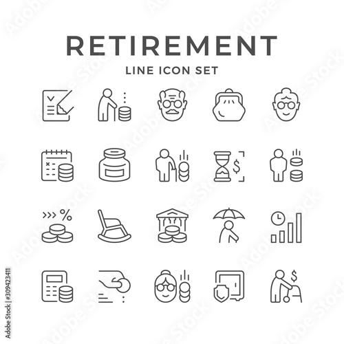 Fototapeta Set line icons of retirement or pension obraz