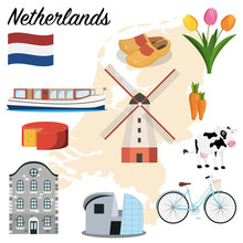 Netherlands Set. Canal Boat, Cheese, Windmill, Clogs, Tulips, Bicycle And Museum. Cartoon Vector Illustration