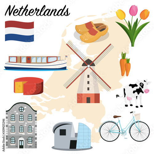 Netherlands set Wallpaper Mural