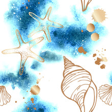 Vector Seamless Pattern With Abstract Watercolor Background And Gold Seashells