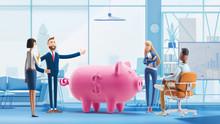 Deposit. Piggy Bank. Bank Team...