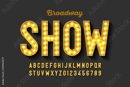Fototapeta Broadway style retro light bulb font, vintage alphabet letters and numbers obraz