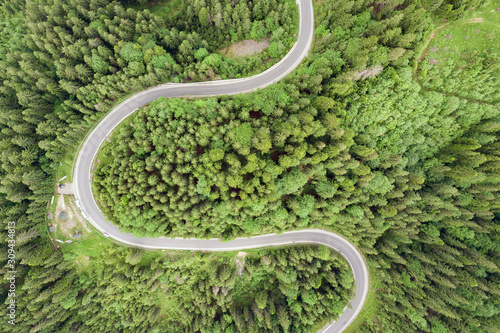 Top down aerial view of winding forest road in green mountain spruce woods Fototapete