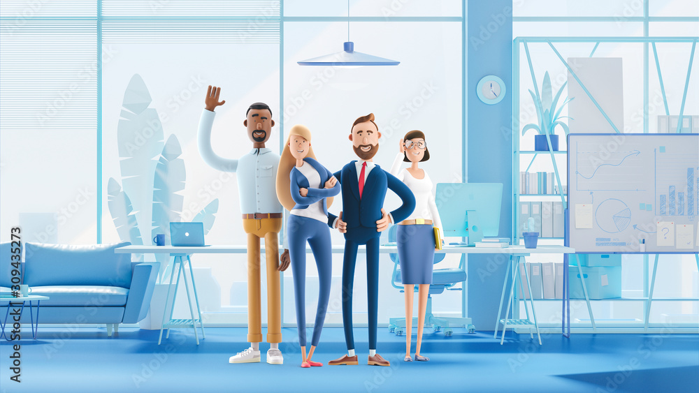 Fototapeta Working team of professionals stand in the interior of the office. 3d illustration.  Cartoon characters. Business teamwork concept.