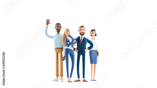 Fototapeta A working team of professionals. 3d illustration.  Cartoon characters. Business teamwork concept.  obraz