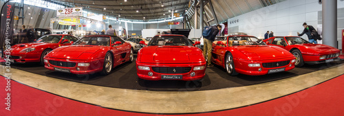 Photo STUTTGART, GERMANY - MARCH 03, 2017: Various Ferrari cars standing in a row
