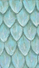 Original Hand Drawn Light Blue Pattern Of Scales Made With Soft Pastel