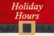 Holiday Hours Message On Red And Black Santa Suit