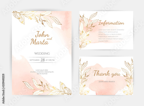 Fototapeta wedding invitation templates. Cover design with gold ornaments. set with hand drawn watercolor background. Trendy templates for banner, flyer, poster, greeting. eps10 obraz