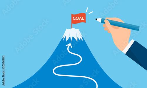 Fotomural ゴールの旗と富士山、目標設定のイメージ