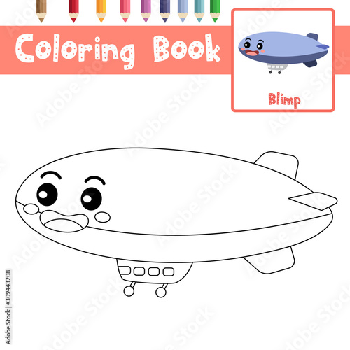 Coloring page Blimp cartoon character perspective view vector illustration Wallpaper Mural