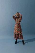 Model With Floral Pattern Dress On Blue Background
