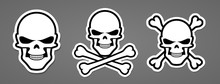 Pirate Symbol Evil Skull With Bone Cross Sticker Vector Illustration