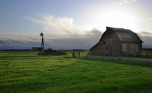 Old Barn In The Green Field Wi...