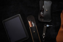 Masculine Leather Accessories Flat Lay