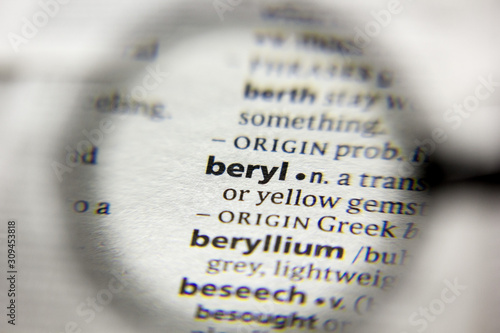 Photo The word or phrase Beryl in a dictionary.