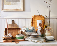 Unorganized Table Of Home Goods