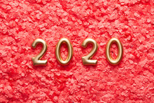 Golden 2020 Numbers On Pink Confetti