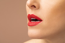 Sensual Woman Wearing Red Lipstick