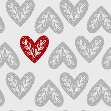 Seamless Pattern Of Hearts With Ethnic Branch.
