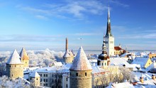 Tallinn City. Estonia. Snow On...