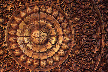 Carving wooden of flower pattern, Thai style.